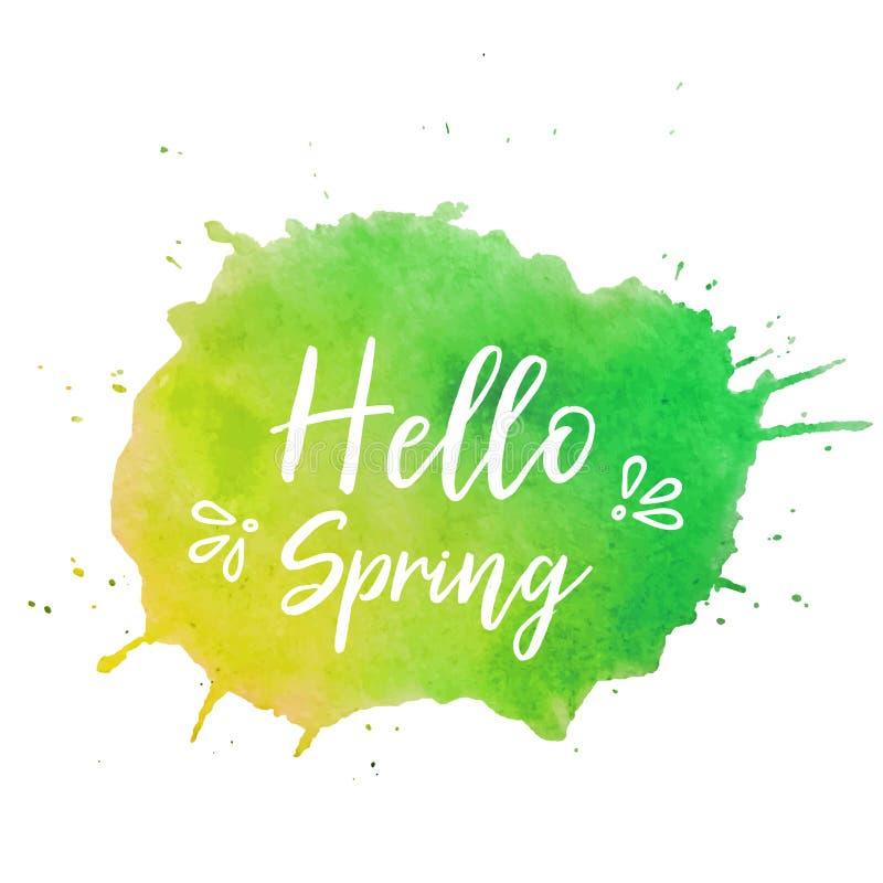 Cześć wiosna teksta talerza wektor Cześć wiosna teksta talerza wektor, tło dla sztandaru, sprzedaż, reklama, karta Akwarela Cześć ilustracja wektor