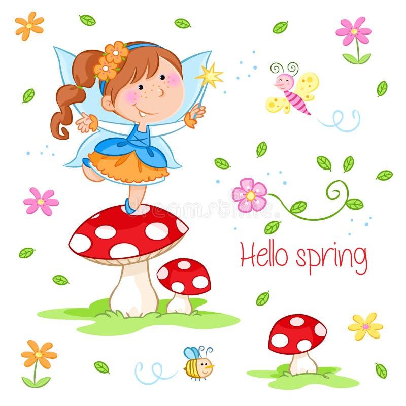 Cześć wiosna - Urocza mała czarodziejka i wiosna uprawiamy ogródek ilustracja wektor