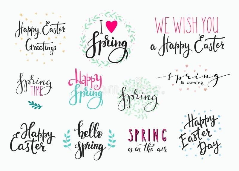 Cześć wiosny literowania typografii Szczęśliwy Wielkanocny set ilustracji