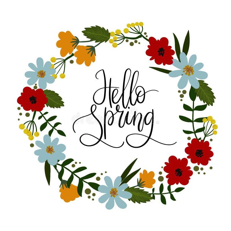 Cześć wiosny ręki literowania kartka z pozdrowieniami Dekoracyjny kwiecisty wianek royalty ilustracja
