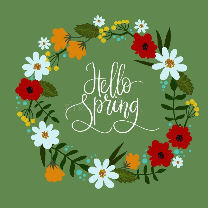 Cześć wiosny ręki literowania kartka z pozdrowieniami Dekoracyjny kwiecisty wianek ilustracja wektor