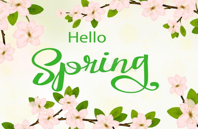 Cześć wiosny tło z czereśniowymi okwitnięciami ilustracji