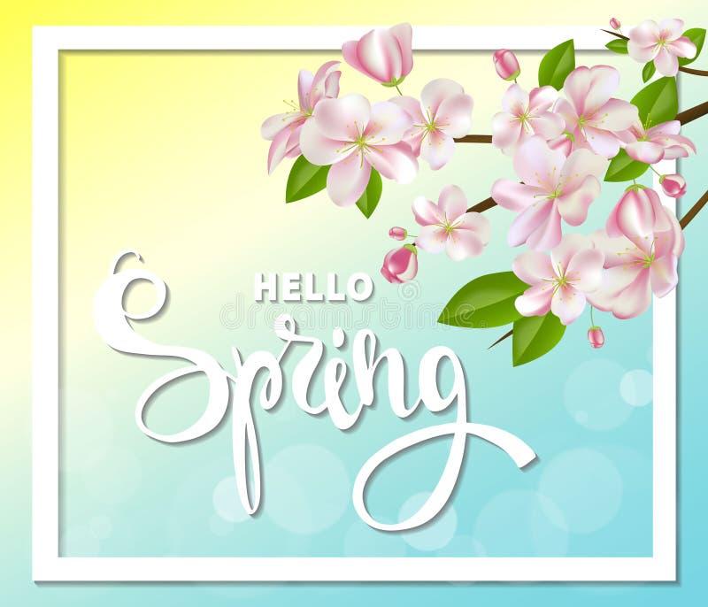 Cześć wiosny tło z czereśniowymi okwitnięciami, liśćmi i gałąź, ilustracji