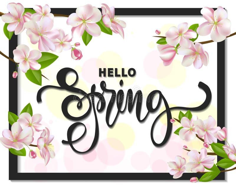 Cześć wiosny tło z czereśniowymi okwitnięciami, liśćmi i gałąź, Kartka Z Pozdrowieniami z ręka rysującym literowaniem wektor royalty ilustracja