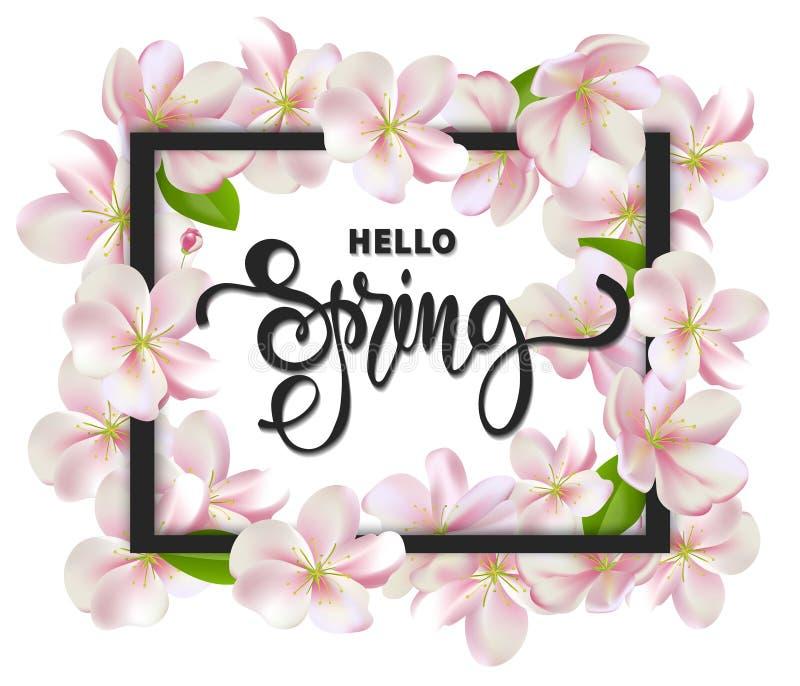 Cześć wiosny tło z czereśniowymi okwitnięciami, liśćmi i gałąź, Kartka Z Pozdrowieniami z ręka rysującym literowaniem wektor ilustracja wektor