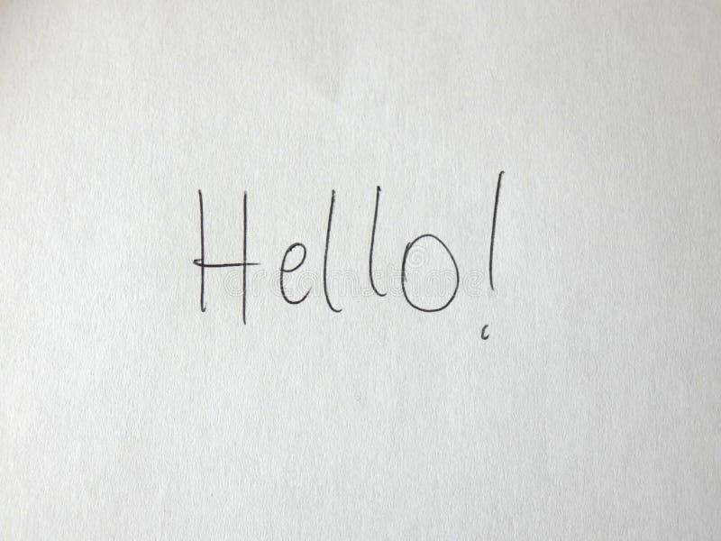 Cześć Writing Na papierze zdjęcie stock