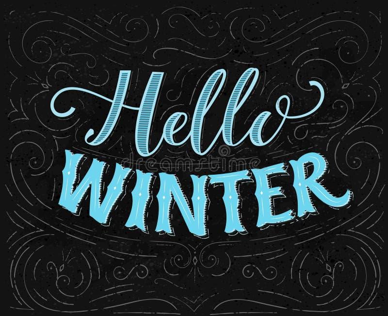 Cześć zima tekst Rocznika kredowy literowanie na blackboard z zawijasami i dekoracjami ilustracja wektor