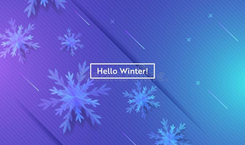 Cześć zima układ z płatkami śniegu dla sieci, Ląduje stronę, sztandar, plakat, strona internetowa szablon Śnieżny bożego narodzen royalty ilustracja