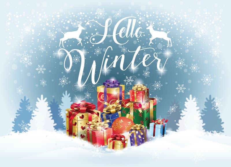 Cześć zima wakacje Śnieżny krajobraz royalty ilustracja
