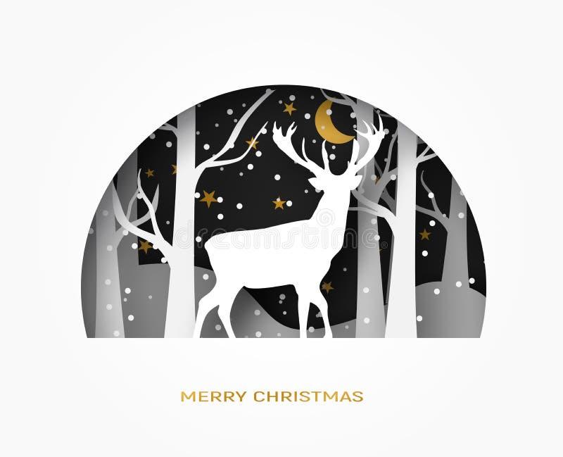 Cześć zimy 3d abstrakta papieru rżnięta ilustracja rogacz w lasowym śniegu Księżyc i gwiazdy w nocy wektor ilustracji