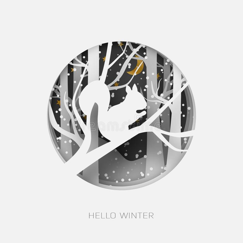 Cześć zimy 3d abstrakta papieru rżnięta ilustracja wiewiórka w lasowym śniegu Księżyc i gwiazdy w nocy wektor royalty ilustracja