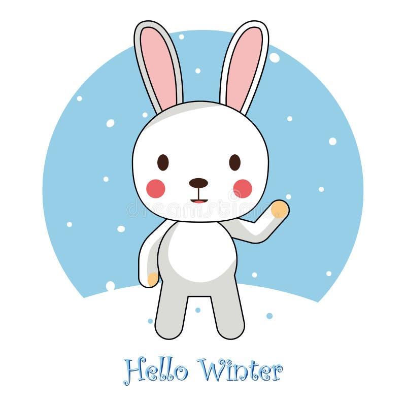 Cześć zimy kartka z pozdrowieniami wpisowy tło z jedlinowym drzewem, reniferem, realistycznym opadem śniegu i dekoracyjnymi eleme ilustracja wektor