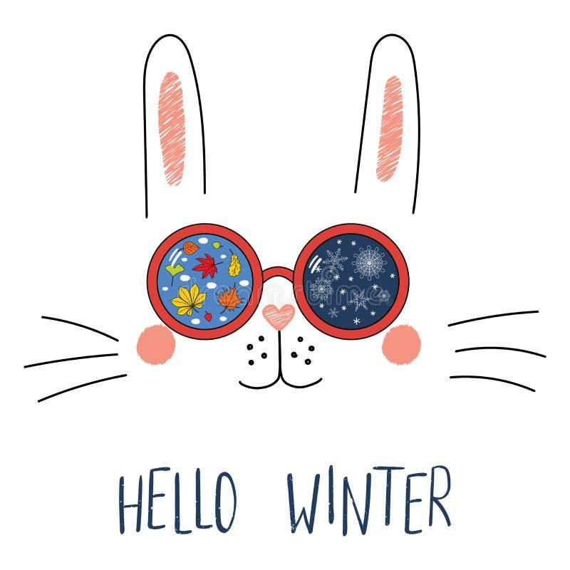 Cześć zimy literowanie z królikiem w szkłach ilustracja wektor