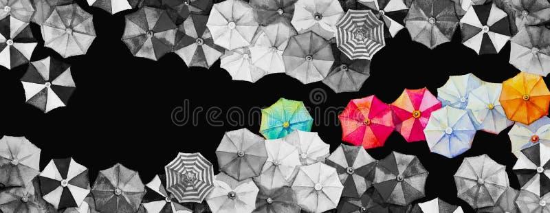 Cze?? lato akwarela maluje kolorowego parasol ilustracja wektor