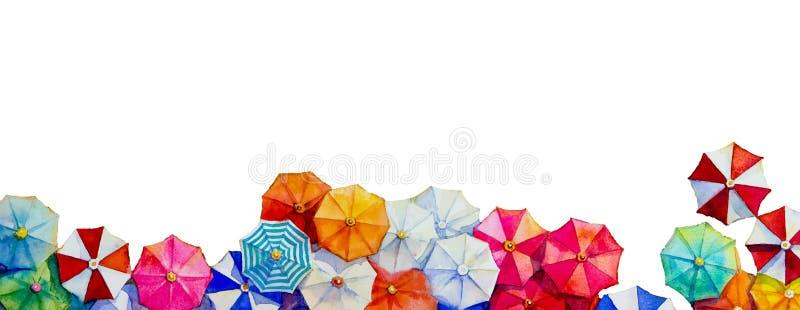 Cze?? lato akwarela maluje kolorowego parasol royalty ilustracja