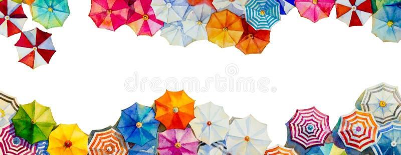 Cze?? lato akwarela maluje kolorowego parasol ilustracji