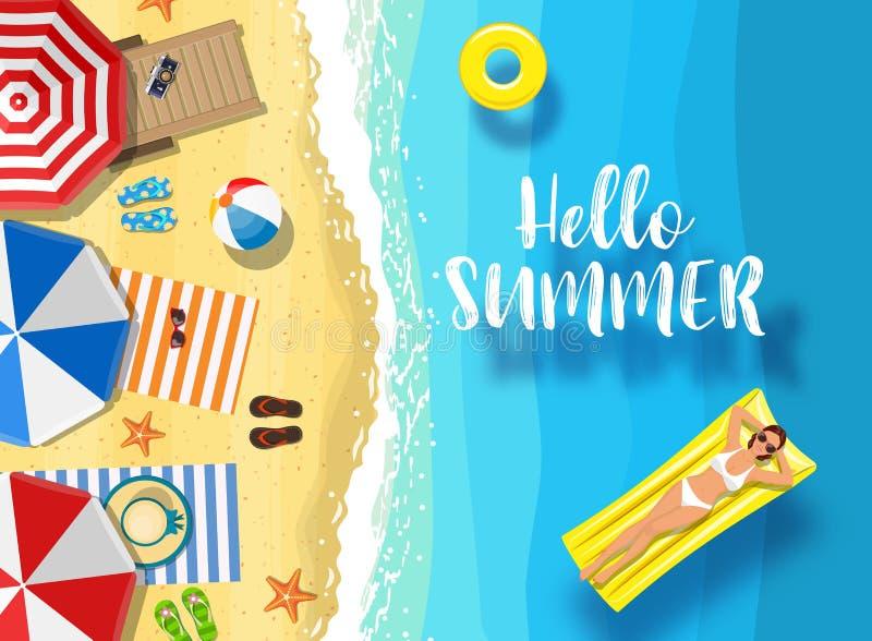 Cze?? lato wiadomo?? na morskim tle ilustracja wektor
