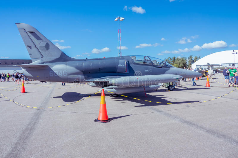 Czech Air Force Aero L-159T1 fighter jet on runway. Czech Air Force L-159T1 fighter jet on runway during Swedish Air Force Airshow in Linkoping, Sweden on sunny royalty free stock photos