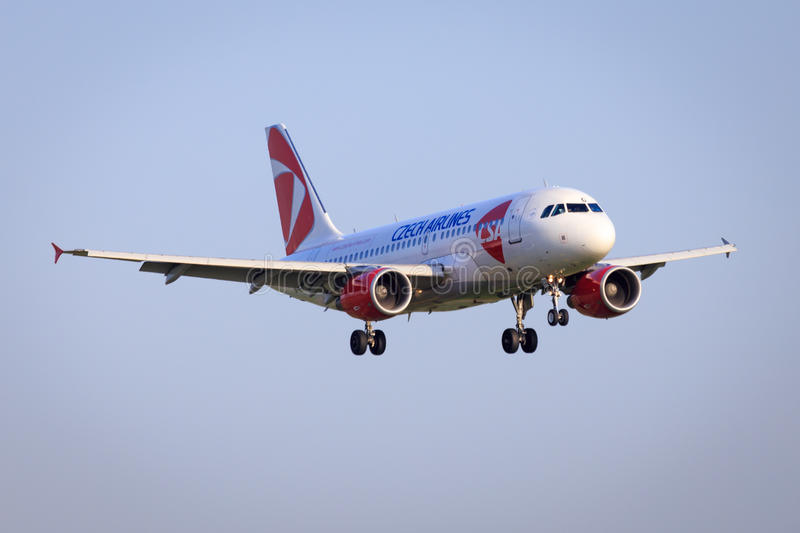 Czech airlines Airbus A319. Approaching to land stock photo
