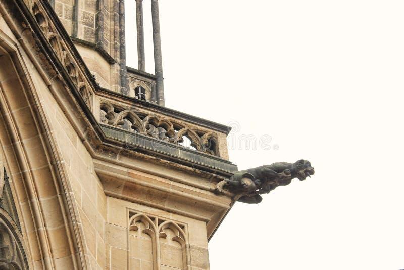 Czech architecture, scary gargoyle sculpture, gothic temple decoration. Medieval art, mystic gargoyle monster statue, St. Vitus Ca stock photography