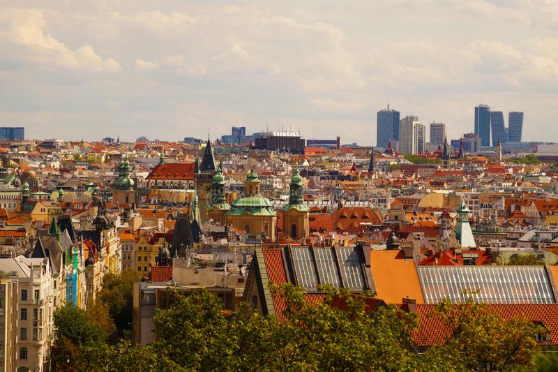 View of the old and new part of the city. Czech capital: Prague. royalty free stock photo