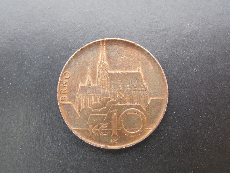 Czech coin with Brno cathedral stock image