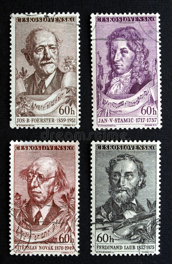 Czech composers on stamps. Stamps of the Czechoslovakia with Czech composers stock photos