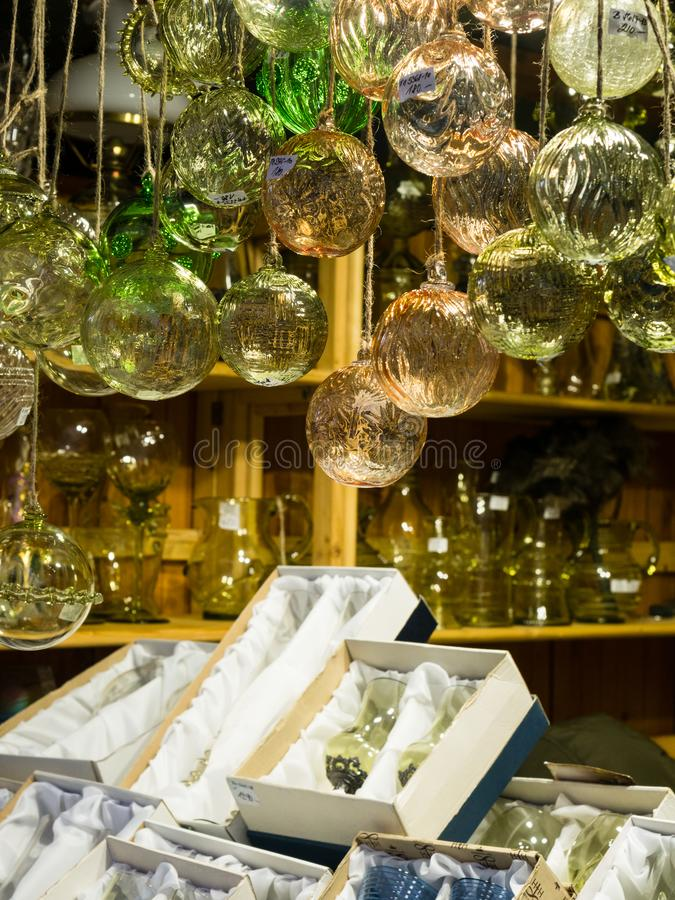Czech crystal glass ornaments at christmas market in Prague royalty free stock images