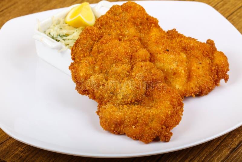 Czech cuisine - schnitzel stock photography