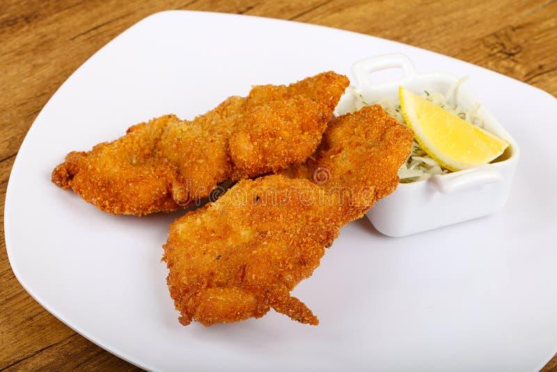 Czech cuisine - schnitzel stock images