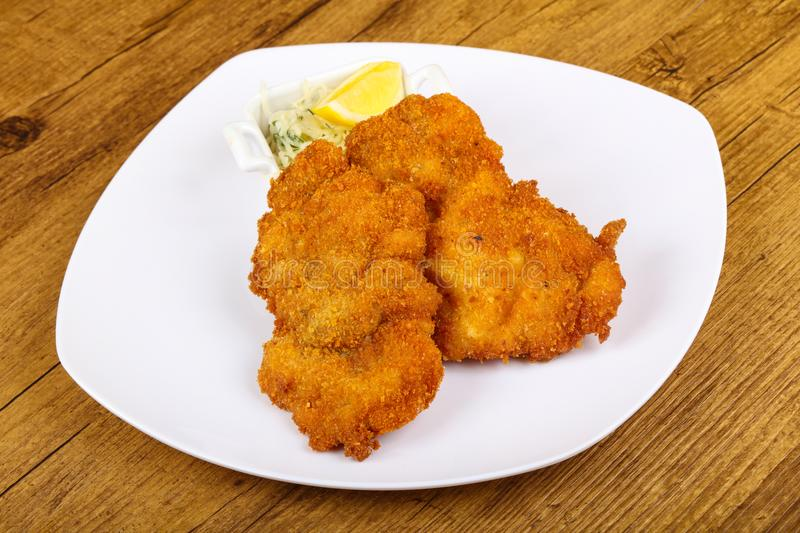 Czech cuisine - schnitzel stock photo