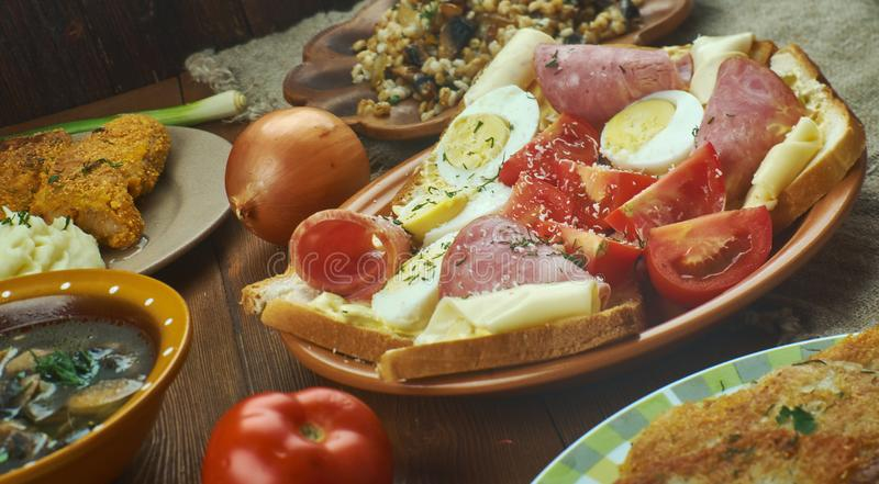 Czech cuisine. Traditional assorted dishes, Top view royalty free stock images
