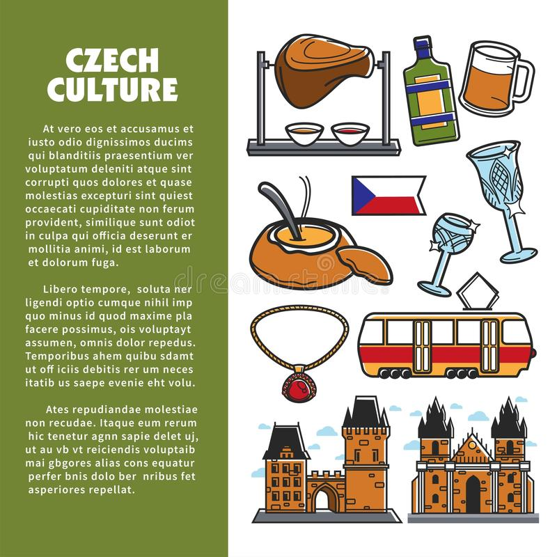 Czech culture symbols and vector Prague landmarks. Czech culture symbols and Prague travel landmarks poster for tourism or famous sightseeing. Vector Czech flag royalty free illustration