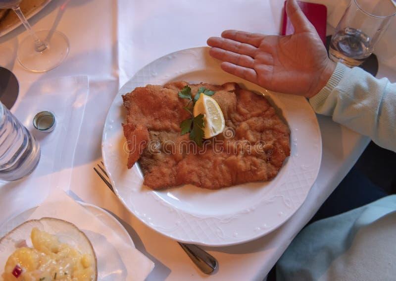 Czech cusine, Weiner Schnitzel, Viennese Restaurant royalty free stock photography
