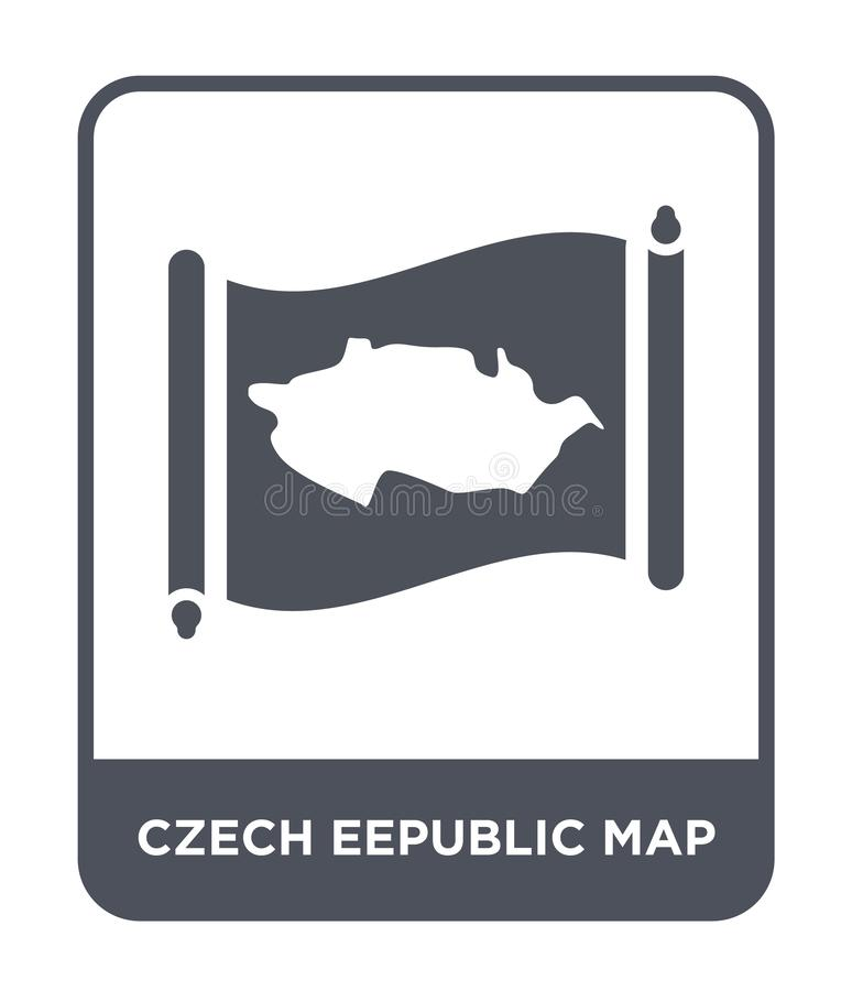 czech eepublic map icon in trendy design style. czech eepublic map icon isolated on white background. czech eepublic map vector royalty free illustration