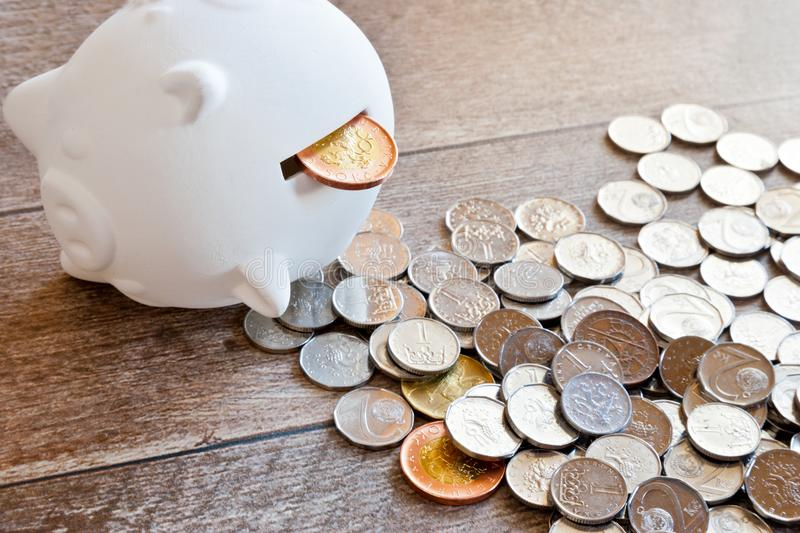 Czech finance and economy - Piggy bank and Czech crown money - c stock image
