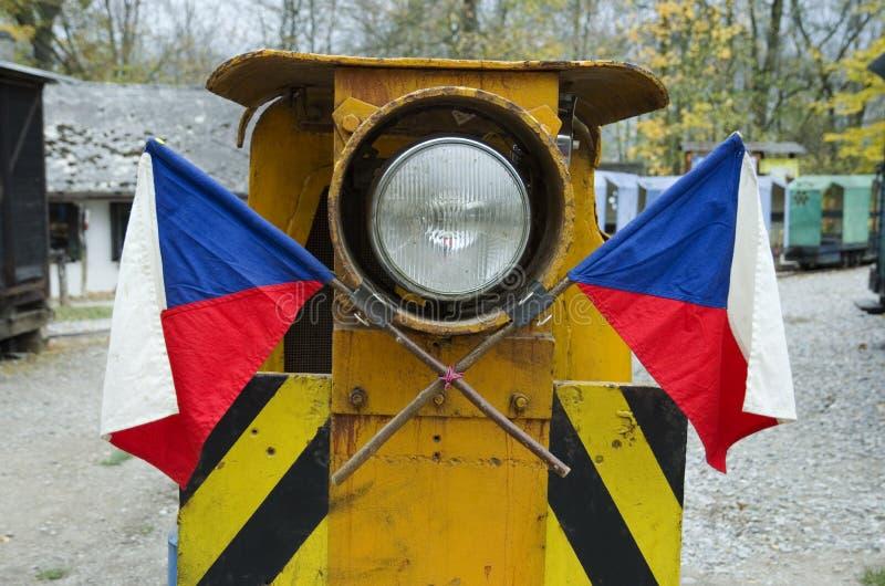 Czech flagi na starym pociągu fotografia royalty free