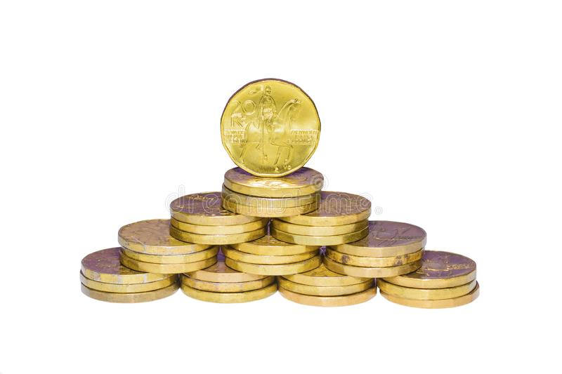 Czech gold coins on a white background stock photo