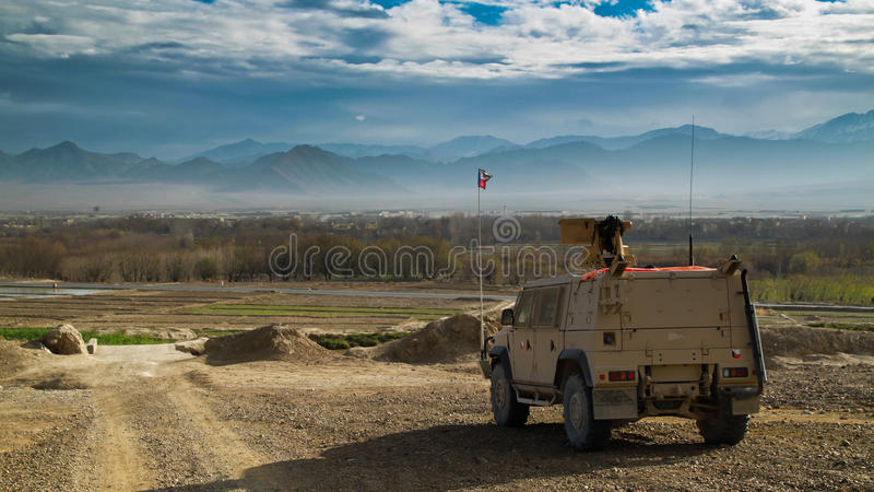 Czech heavy armored Iveco vehicle in Afghanistan royalty free stock photo