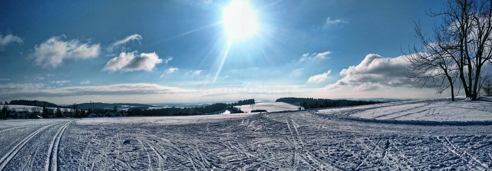 Czech Highlands winter panorama. Winter in highest parts of Czech Highlands. Paradise for all crosscountry skiers royalty free stock photo