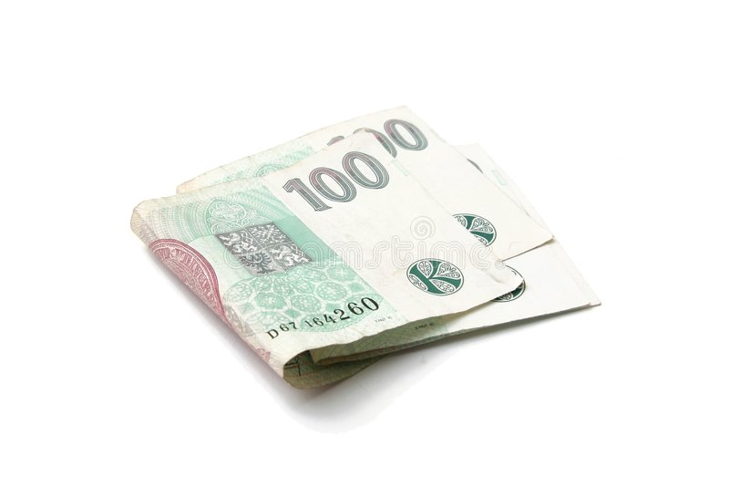 Czech hundred banknotes money stock image