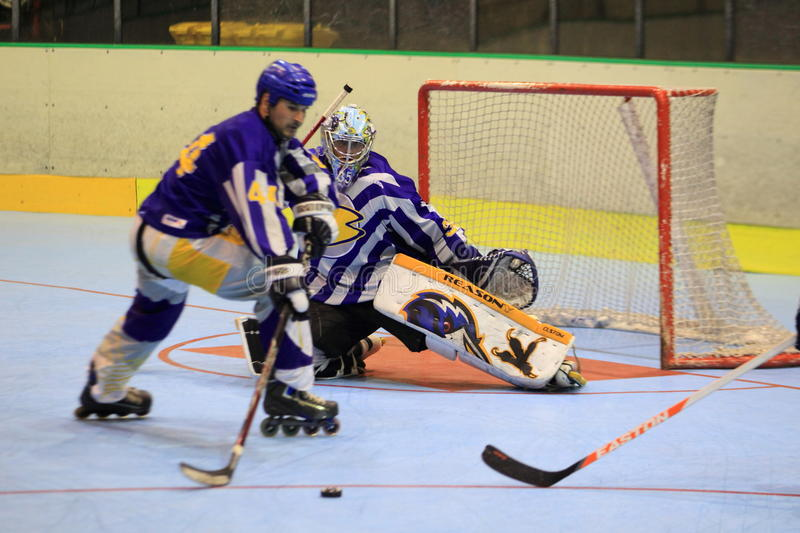 Czech inline hockey extraleague. The moment from the quarterfinal of czech inline extraleague between IHC Beroun and IHC Uhersky Brod played in Prague on 22.6 royalty free stock photography