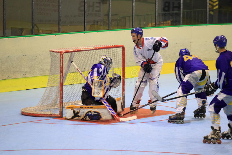 Czech inline hockey. The quarterfinal of czech inline extraleague between IHC Beroun and IHC Uhersky Brod played in Prague on 22.6.2014 royalty free stock image