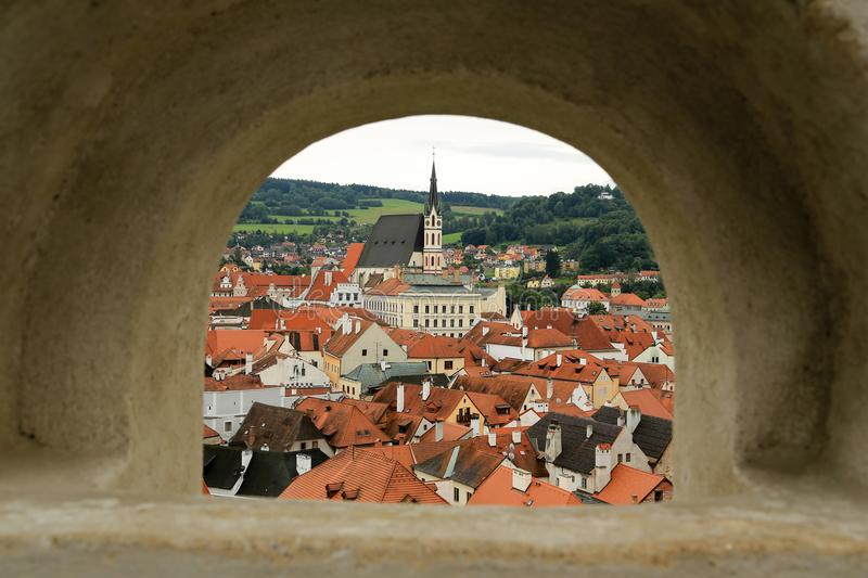 Czech Krumlov across the arch stock photography