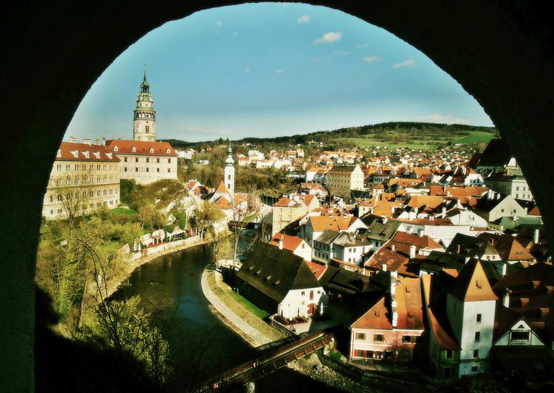 Beautiful view of the Czech Krumlov royalty free stock images