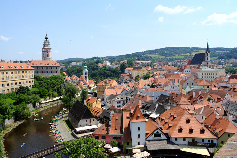 Czech Krumlov view from the castle over the city and river royalty free stock photos
