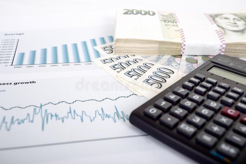Czech money, calculator and charts. Businessman workplace with czech money, calculator and charts, business collage stock photo