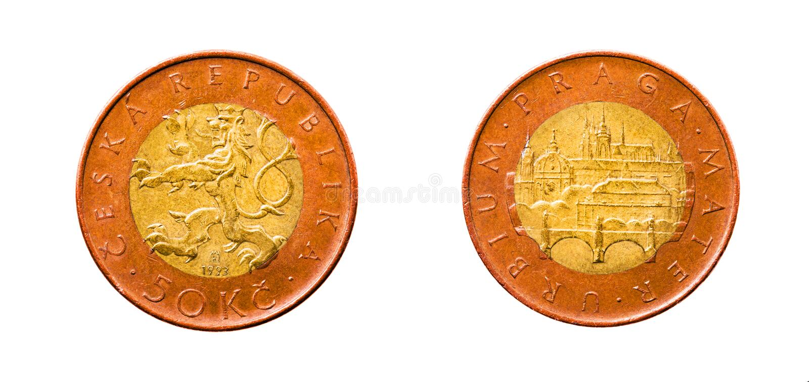 Czech money (crones). Photo of the Czech money in cost in fifty crones (are isolated on a white background, a photo of both parties of a coin stock photography