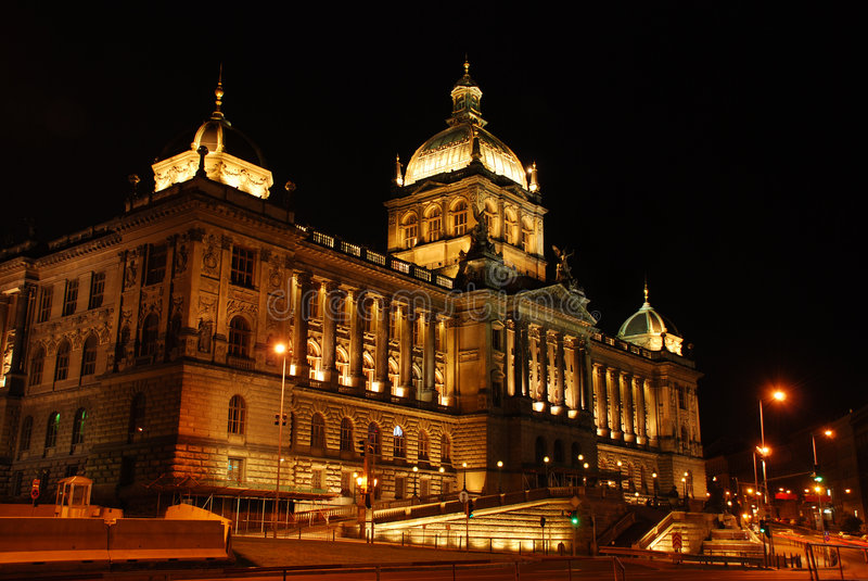 Czech national museum at night royalty free stock photos