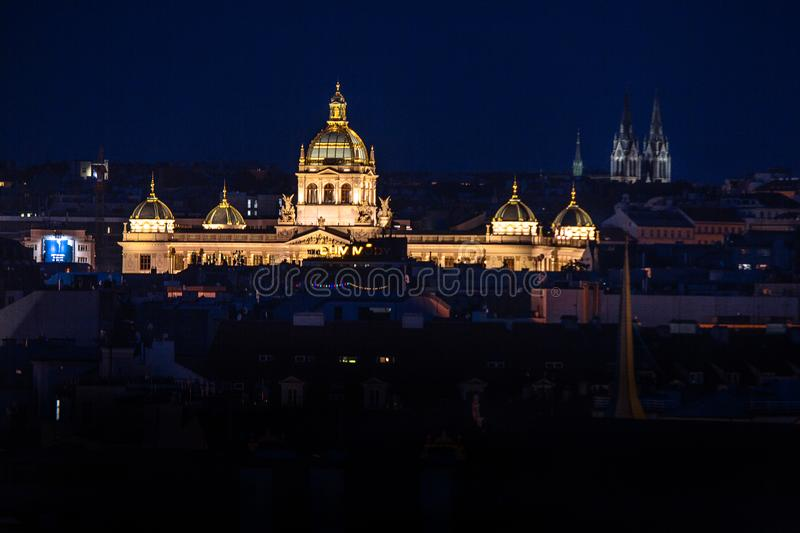 Czech National Museum. Shot from Old Town Bridge Tower in night stock image
